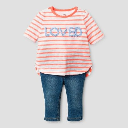 baby girls tunic and denim pants set cat jack pink striped 24 months size 24 m pink stripe