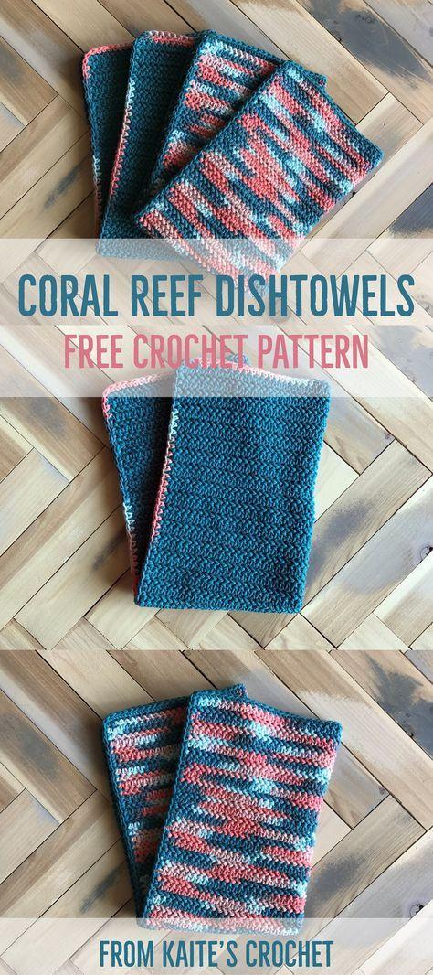 Coral Reef Dishtowels Free Crochet Pattern From Kaites Crochet A