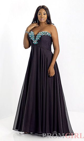 Long Strapless Black Plus Size Gown At Promgirl Mardi Gras