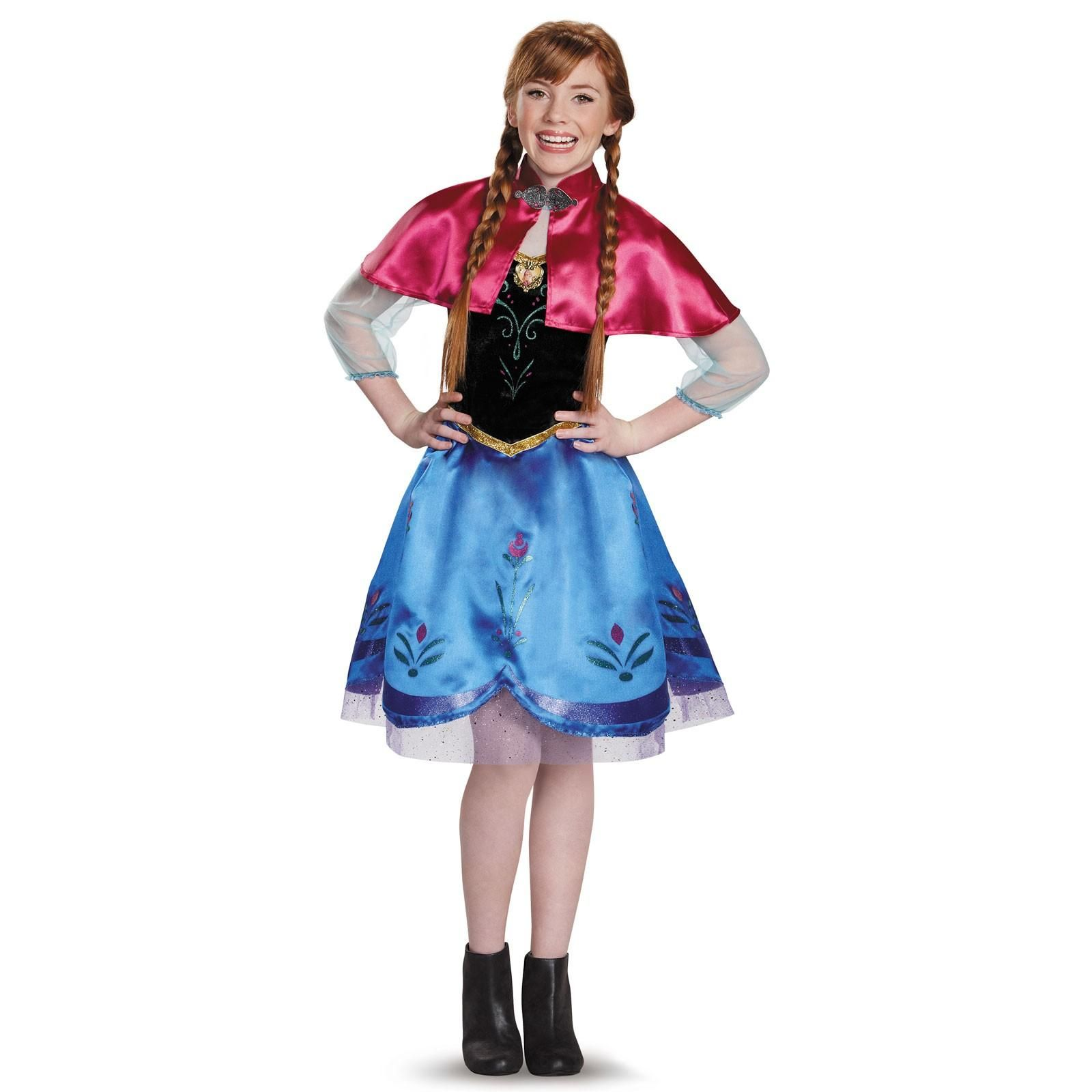 This Frozen Traveling Anna Tween Costume includes a dress with character cameo and a capelet perfect for Halloween Frozen themed events and singing along ...  sc 1 st  Pinterest & Frozen: Tween Anna Traveling Gown Costume | halloween 2014 ...