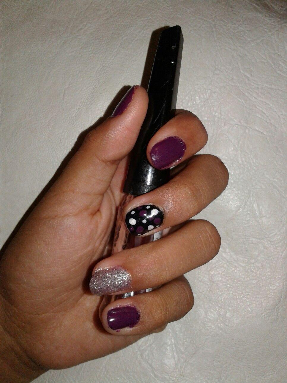 Decoración de uñas Morado uva Esmalte escarchado plateado Negro con ...