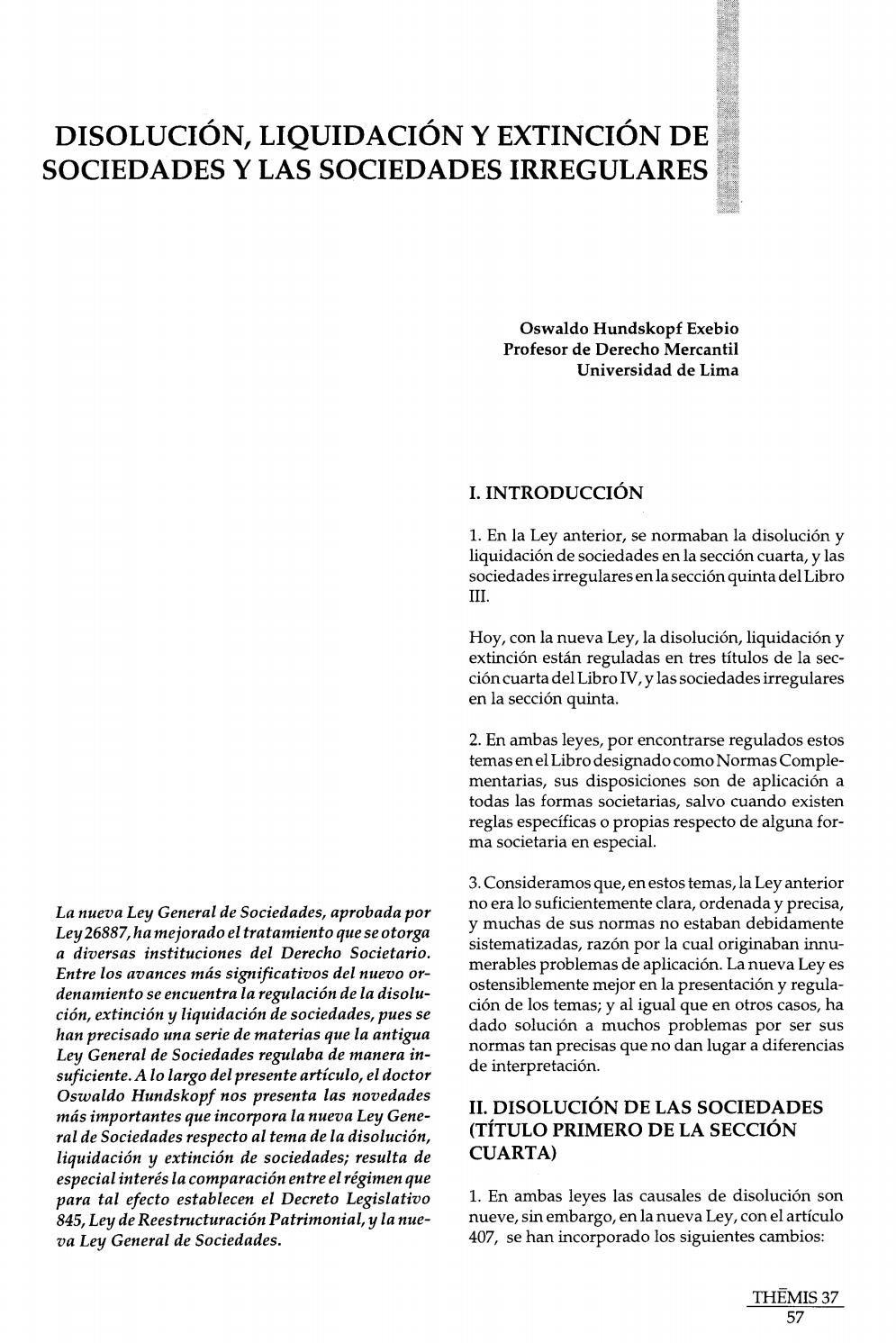 Disolución, liquidación y extinción de Sociedades y las sociedades ...