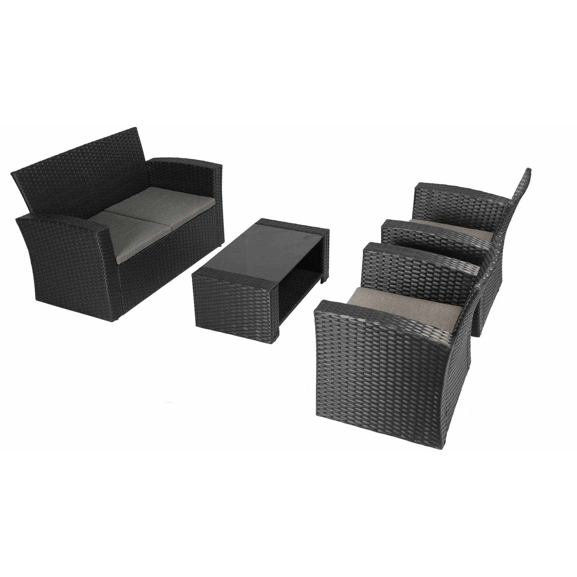 Marvelous Complete Patio 4 Piece Rattan Wicker Conversation Set Dhp Lamtechconsult Wood Chair Design Ideas Lamtechconsultcom