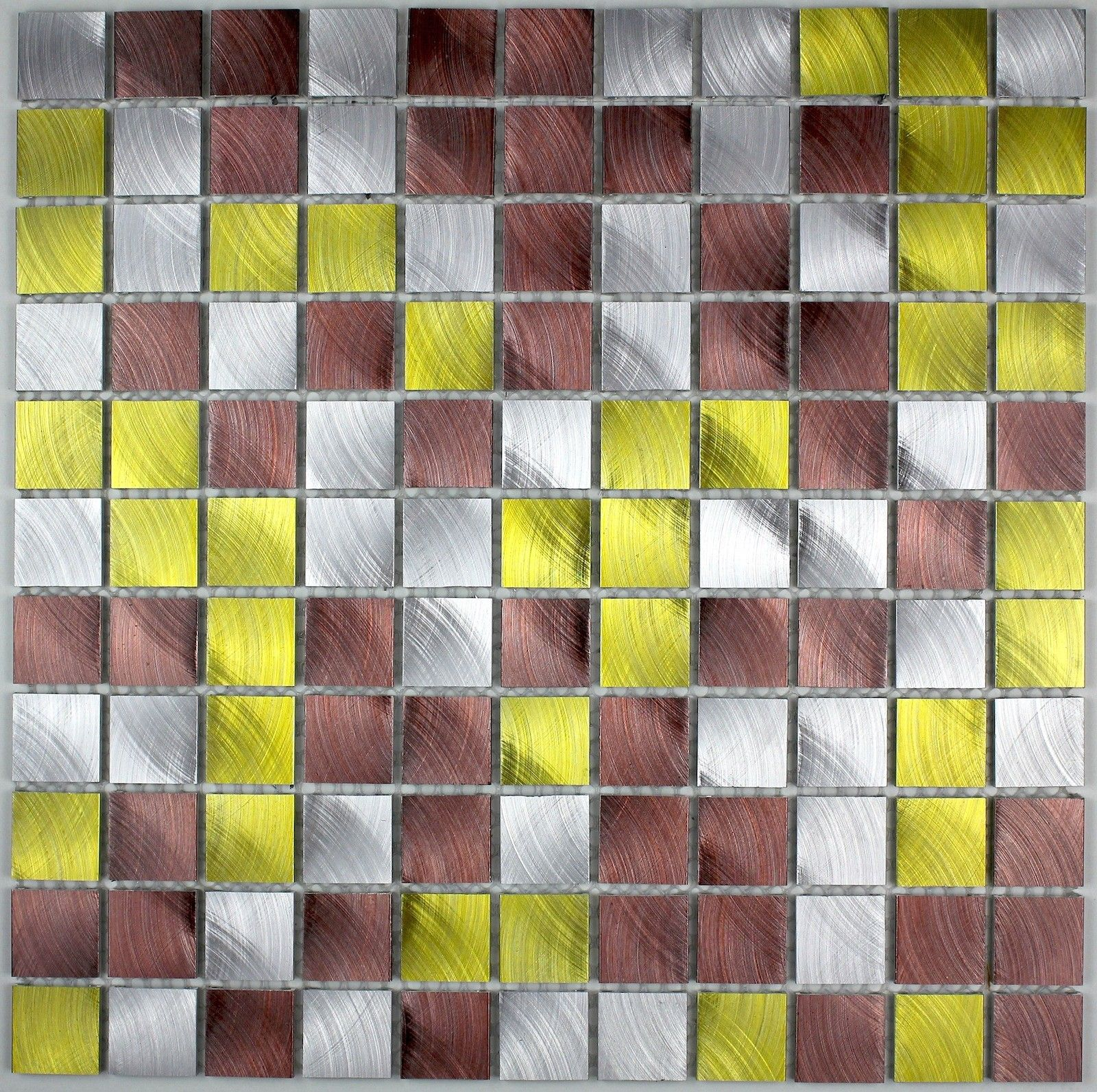 Aluminium Mosaic Tiles Kitchen Ma Alu25 Dor16 90 Length 11 61 In Width 29 5 Cm Thickness 5 Mm Material Alumini Carrelage Mural Carrelage Carrelage Inox