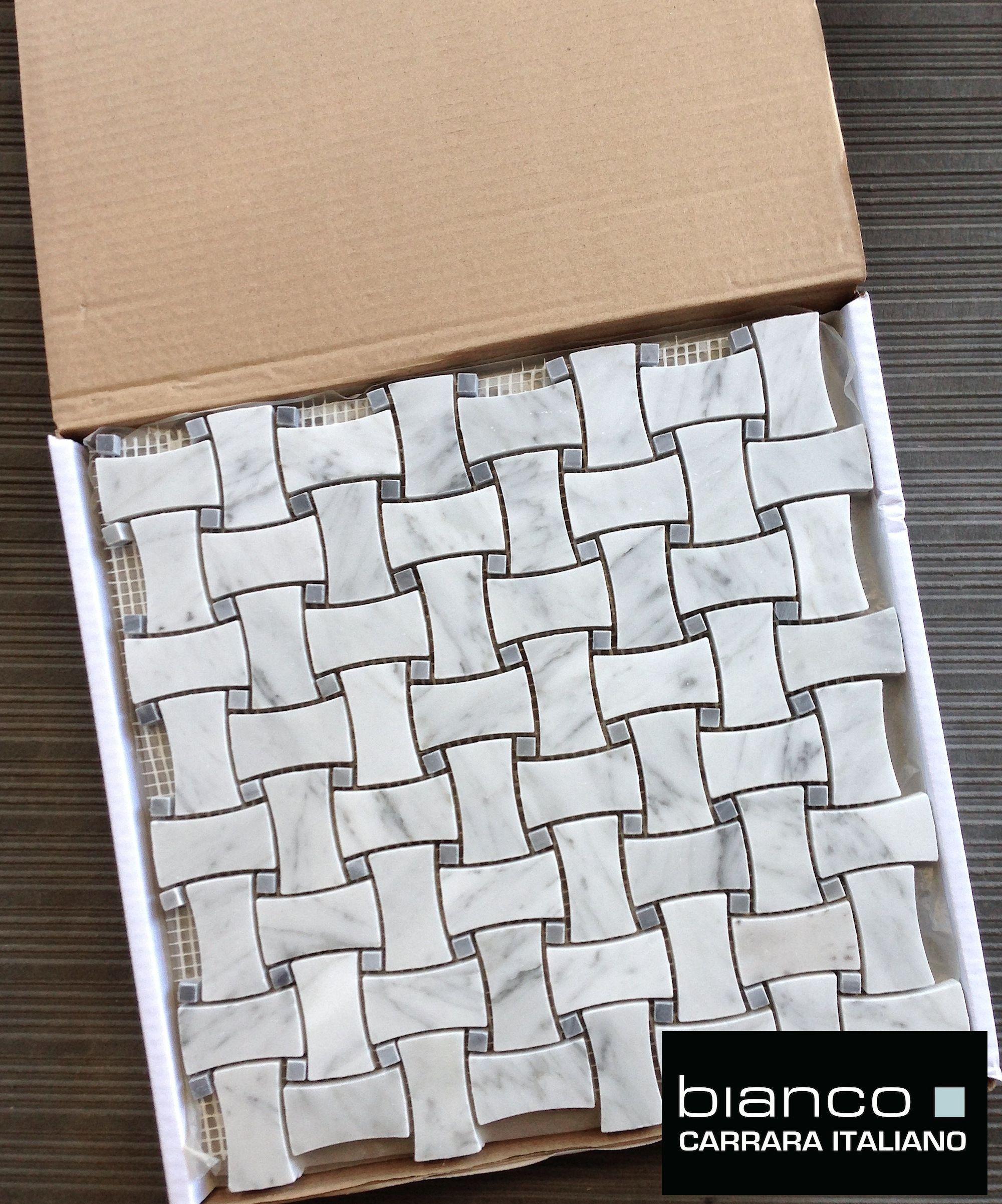 Carrara Bianco Gray Dot Dogbone Basketweave Tile