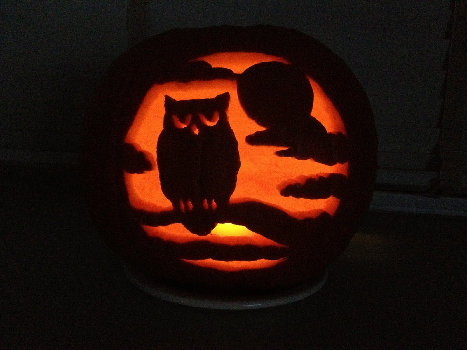Halloween pumpkin carving template - owl on a branch with moon and ...