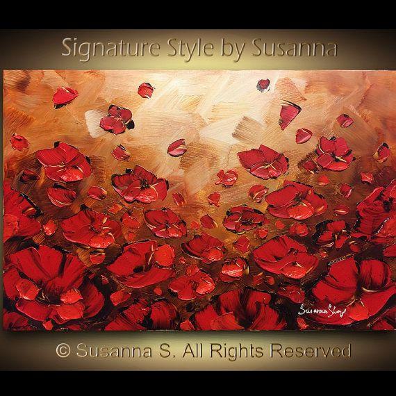 Große Kunst ORIGINAL Landschaft Ölgemälde Roter Mohn abstrakten Malerei Spachtel Floral Blume-Startseite Dekor Susanna 36 x 24 Ready to Hang