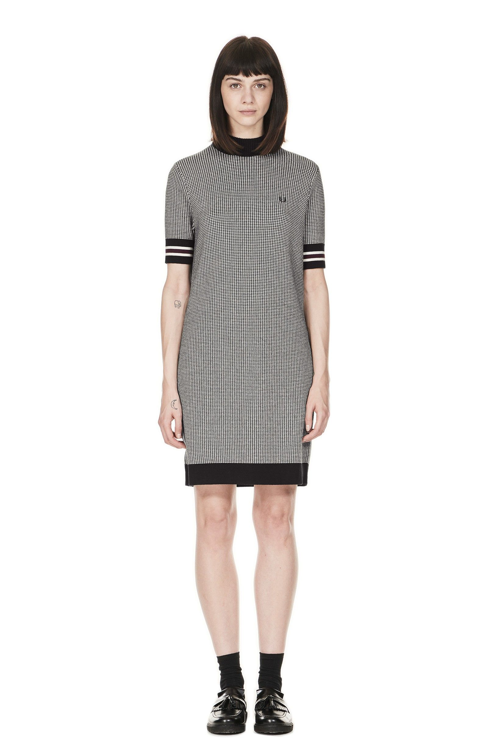 dbb31b34de Fred Perry - Houndstooth Knitted Dress Black