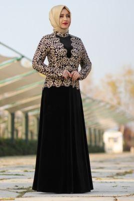 d076530e284fc Özne Olmak Siyah Güpürlü Kadife Tesettür Elbise | giyim | Siyah ...