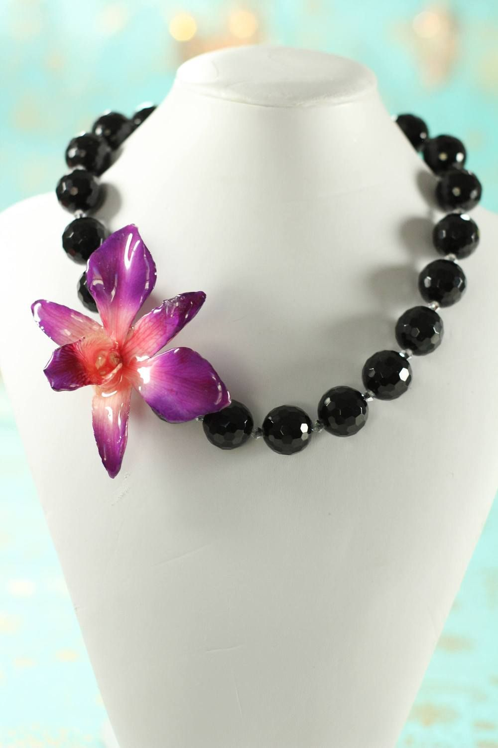 Orchid Flower Jewelry Real Orchid Necklace Handmade Gifts Flower Jewellery Orchid Necklace Flower Statement Necklace