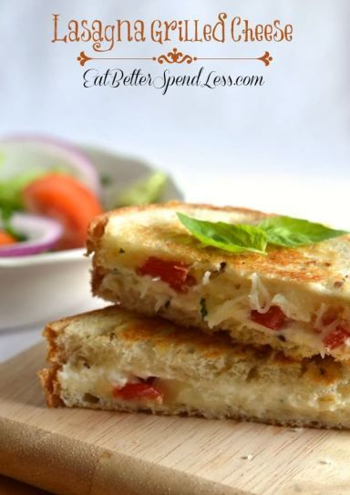 Lasagna Grilled Cheese; Creamy ricotta, gooey mozzarella, fresh basil and tomato. A delicious update to your grilled cheese sandwich.