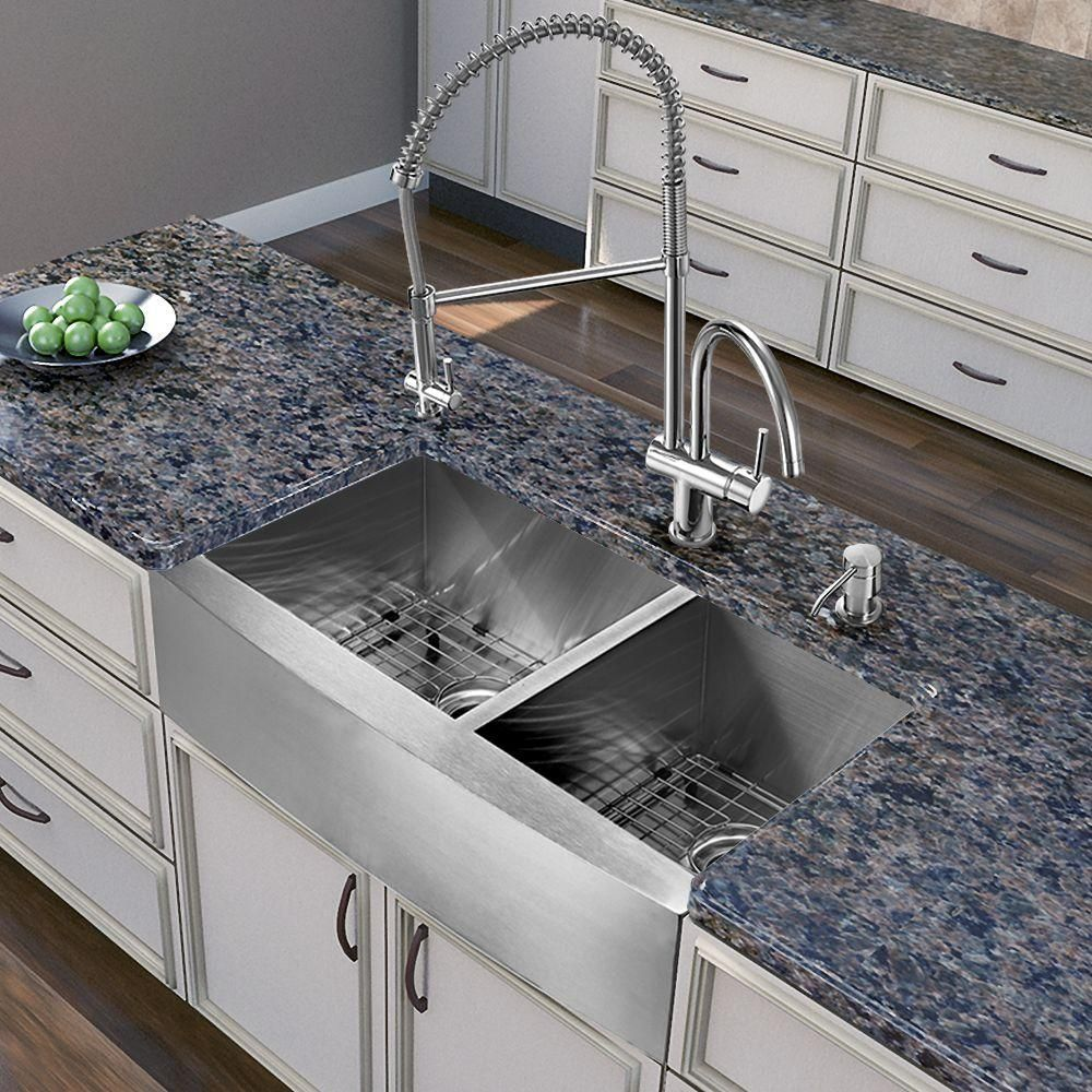 Vigo All In One Farmhouse Apron Front Stainless Steel 36 In 0 Hole Double Bowl Kitchen Sink And Faucet Set In Chrome Vg15267 Farmhouse Sink Kitchen Stainless Steel Kitchen Sink Stainless Steel Farmhouse Kitchen Sinks