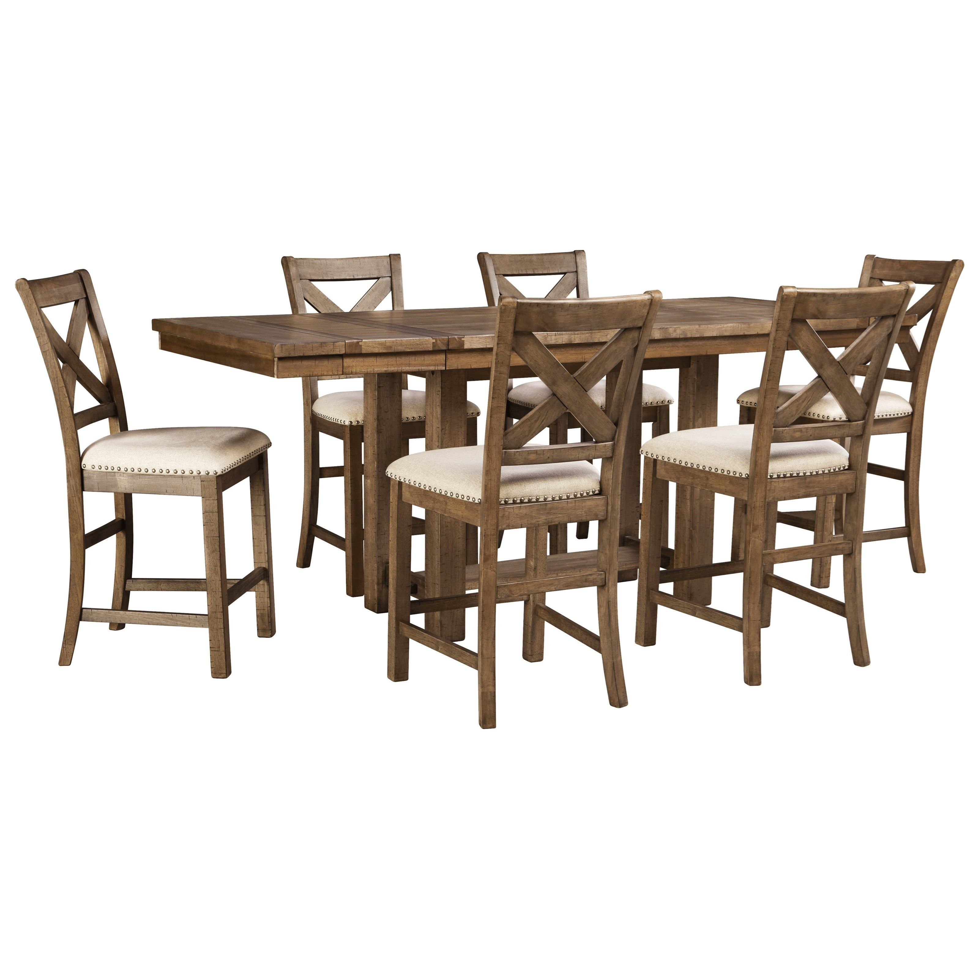 Moriville 7 Piece Rectangular Extension Counter Table Set By