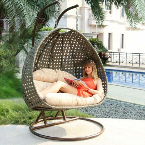 Outdoor Wicker Egg Chair Patio Hanging Chair Rattan Porch Swing Chair W Stand Ebay Porch Swing Chair Swing Chair Outdoor Swinging Chair