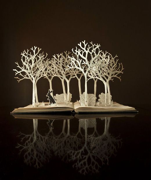 Book Sculptures...Down the Rabbit Hole by Cynical Katie.