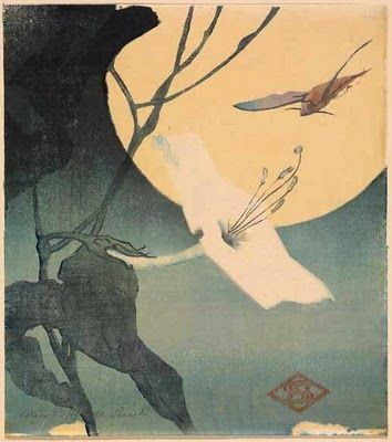 Image result for Japanese paintings and artwork moonflowers with moths