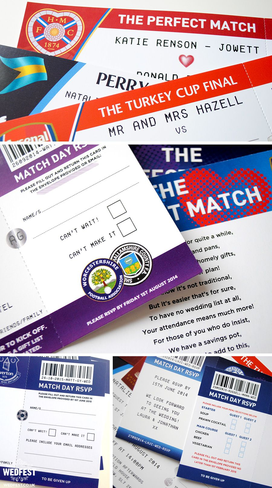 football soccer themed wedding stationery http://www.wedfest.co ...