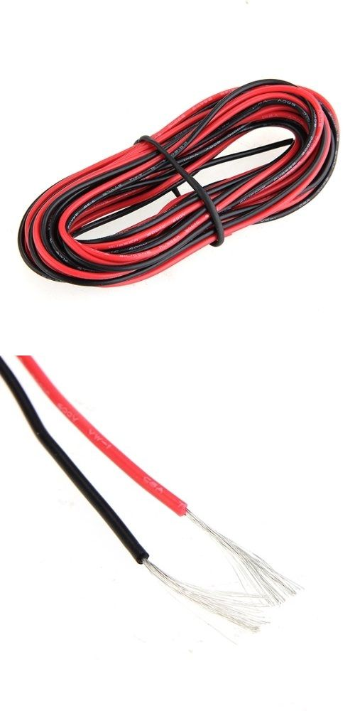 WSFS Hot 2x 3M 24 Gauge AWG Silicone Rubber Wire Cable Red Black ...