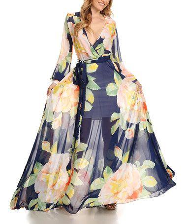 Another great find on #zulily! Navy & Peach Floral Tie-Waist Surplice Dress - Plus Too #zulilyfinds