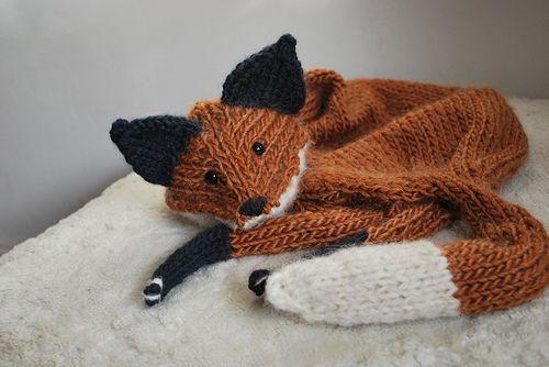 Knitted Fox Scarf Pattern Sapkk Slak Kesztyk Pinterest