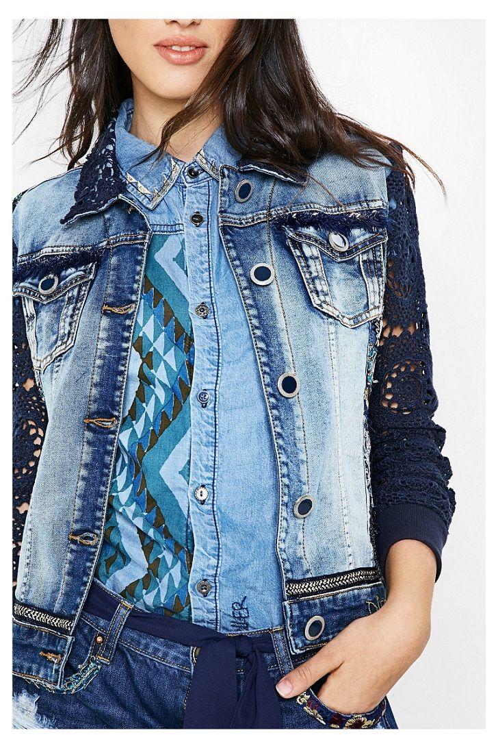 veste en jean pour femme exotic blue desigual desigual pinterest jeans pour femmes vestes. Black Bedroom Furniture Sets. Home Design Ideas