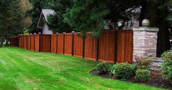 Two Tone Stained Fence Outdoor In 2019 Privacy Fences
