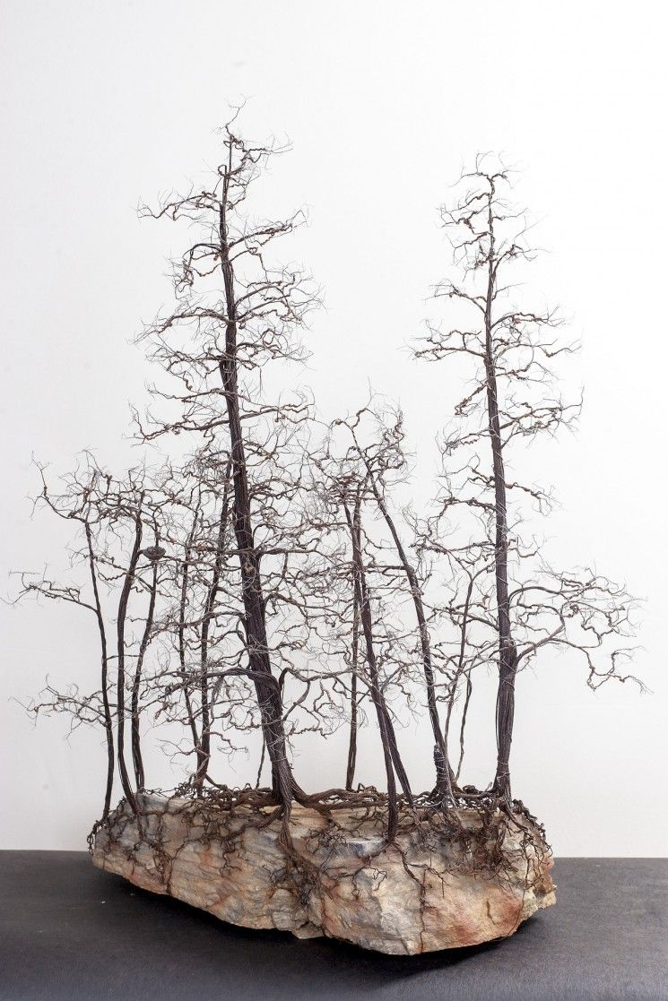 Delicate and Detailed Copper Wire Bonsai Tree Sculptures | Copper ...