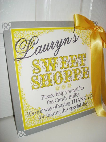 Fabulous Lb Laurens Yellow And Grey Candy Buffet Sign P For Me Interior Design Ideas Tzicisoteloinfo