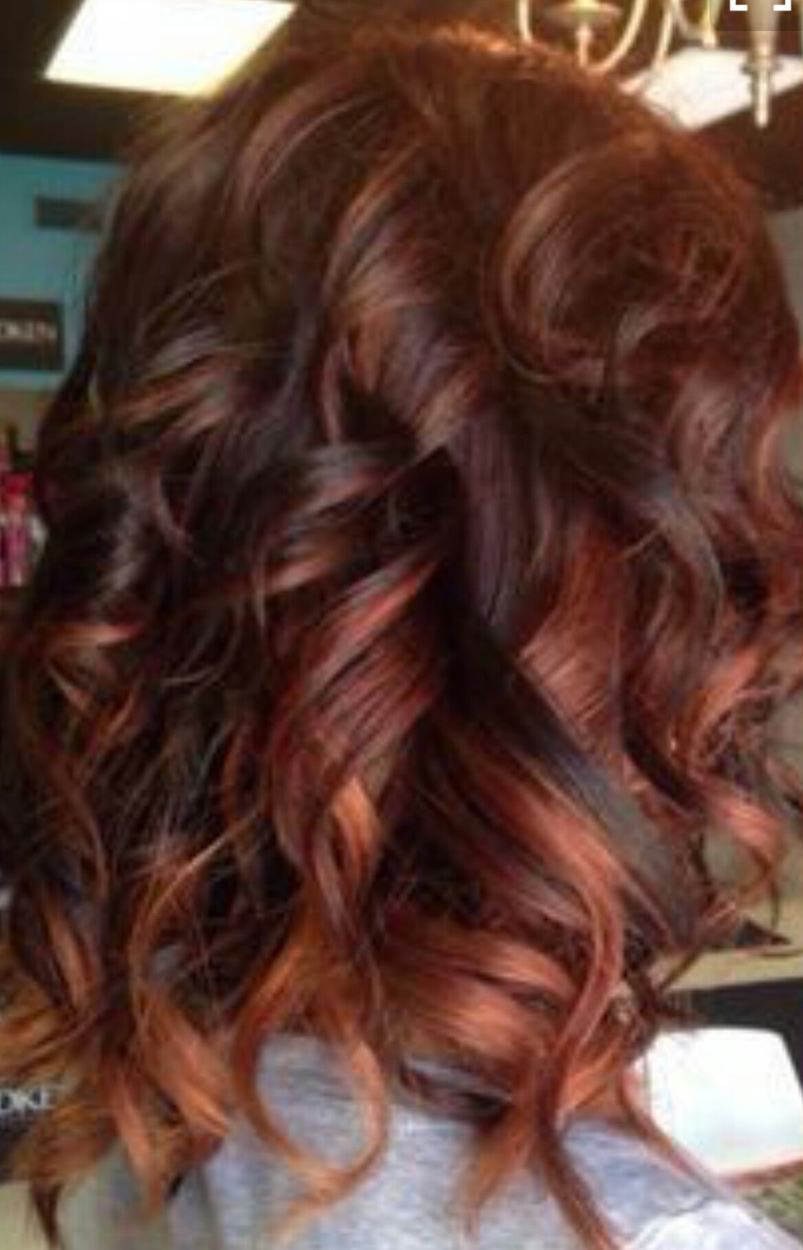 brunette with red highlights Naturals Red Pinterest