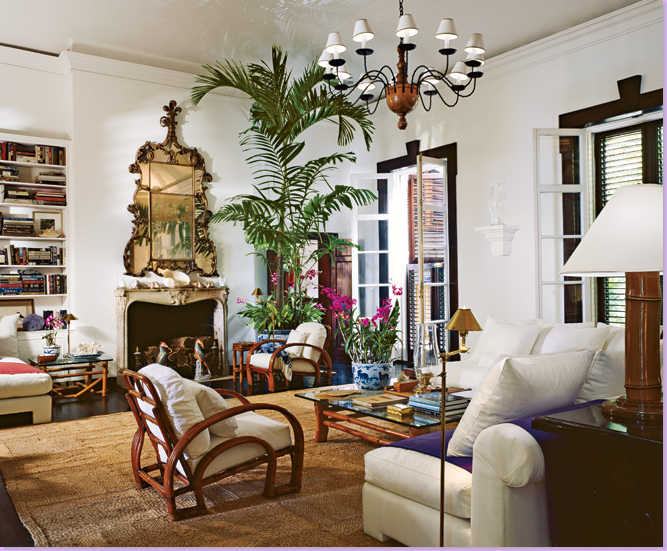 British Colonial Style With High Ceilings Bamboo Furnishings Mixed With Finer Finishes Like