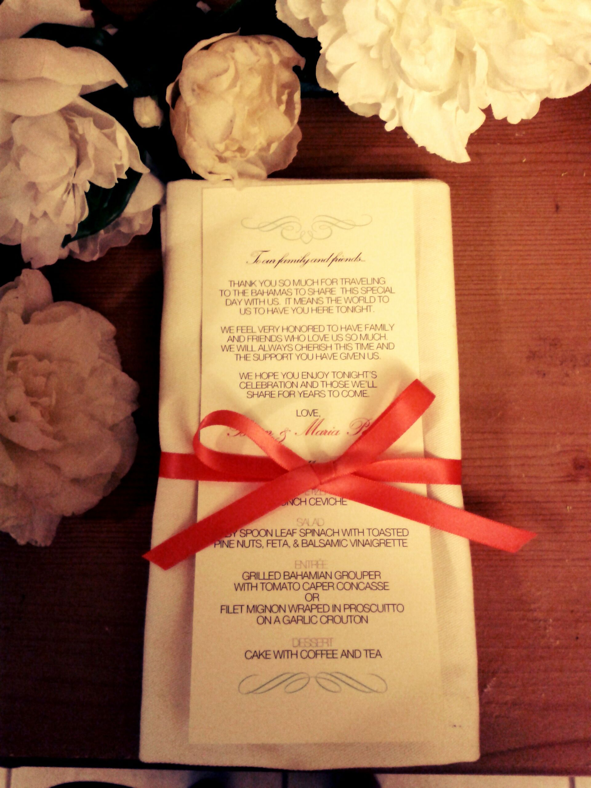 Test Sample For Marias Wedding Dinner Menu Thank You Card For