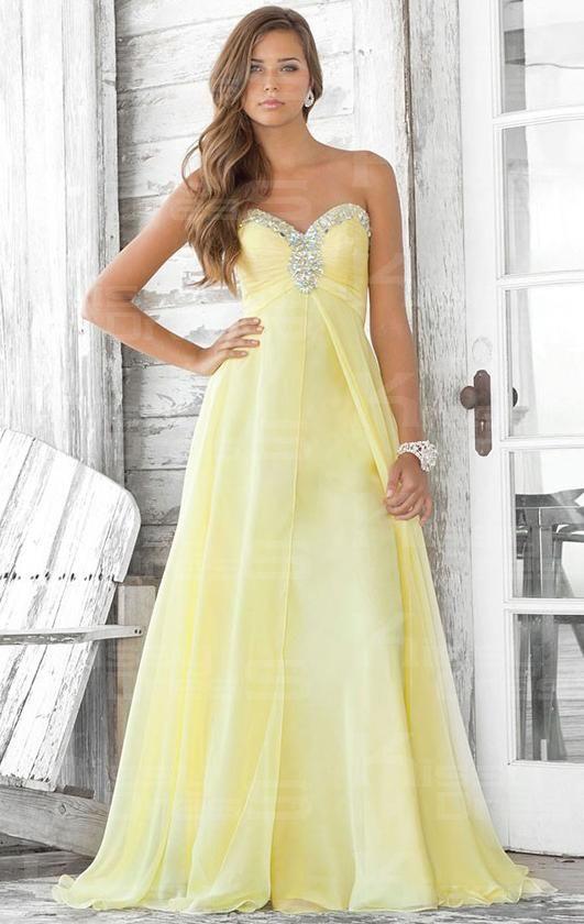 Floor Length Chiffon A-line Strapless Sweetheart Empire Prom Dress ...
