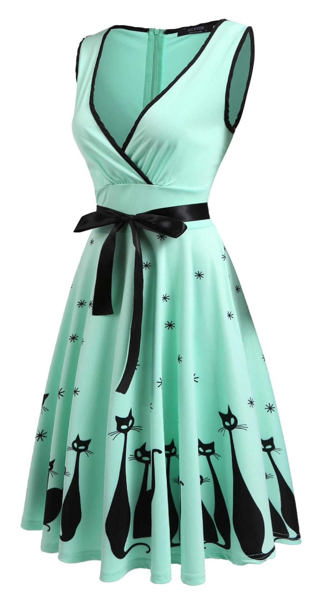 Oh my! What a cute vintage style kitty dress! | Corset n clothed ...