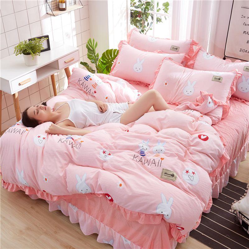 Pink Bedding Set Duvet Cover Rabbits Kawaii Bedding Sets Bed Cover