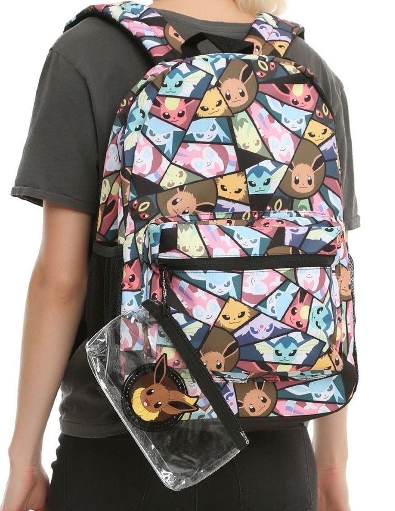 61437edc7cff Pokemon Eevee Evolution Backpack With Bonus Pencil Pouch School Book Bag  New Set  Pokmon  Backpack