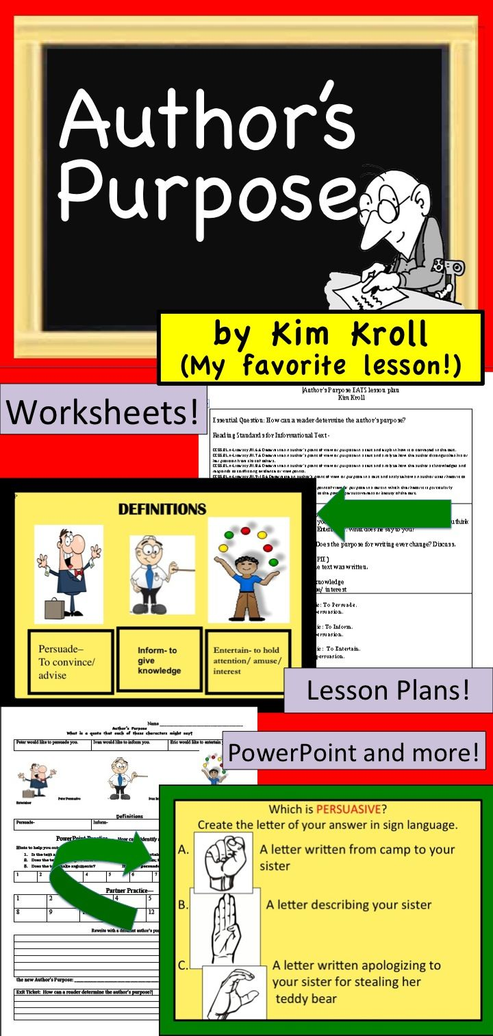 Author 39 S Purpose Ppt Formal Evaluation Lesson Plan