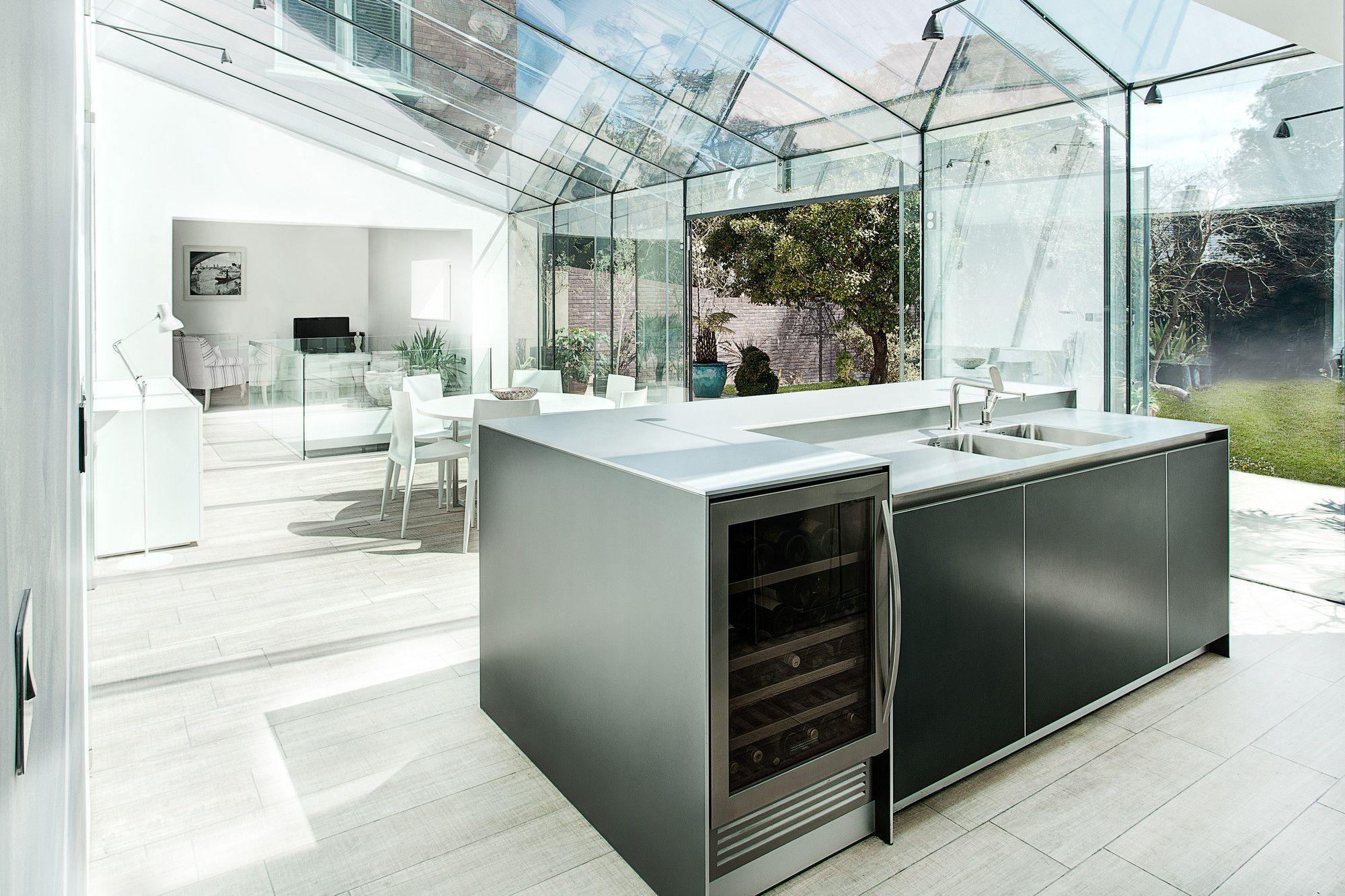 Cozinha Com Telhado Retr Til De Vidro Para Ajudar Na
