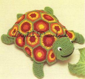 Turtle Granny Square Crochet Pattern,  Hippie Vintage 1970's Soft Toy, Amigurumi, Stuffed Animal, Instant PDF, Digital Download