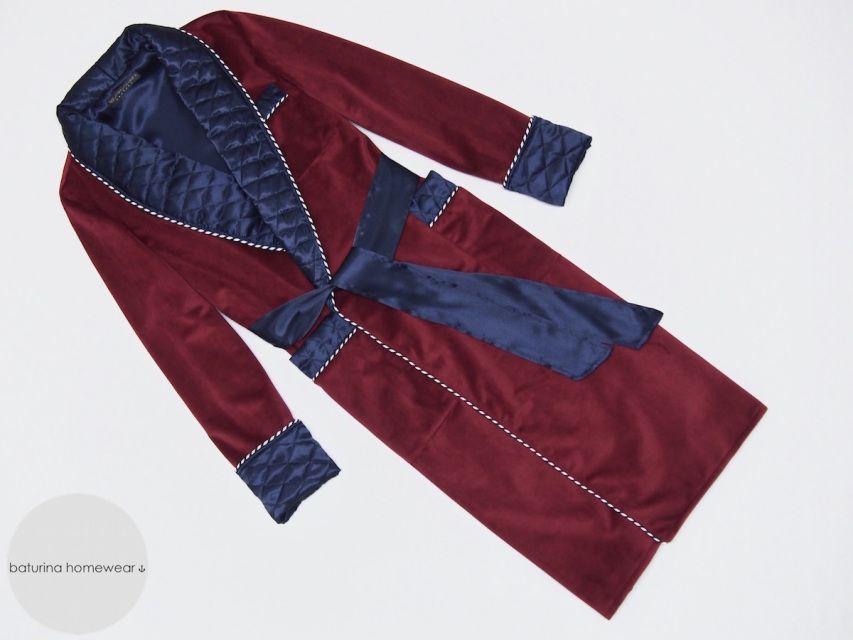 Men\'s Custom Dressing Gown Burgundy Navy Deluxe | Smoking jacket ...