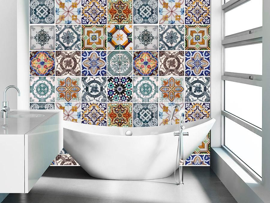 Portuguese Tiles Azulejos This Set Consists Of 56 Wall Tile Stickers Which You Can Attach Easily These Covers Be Added To