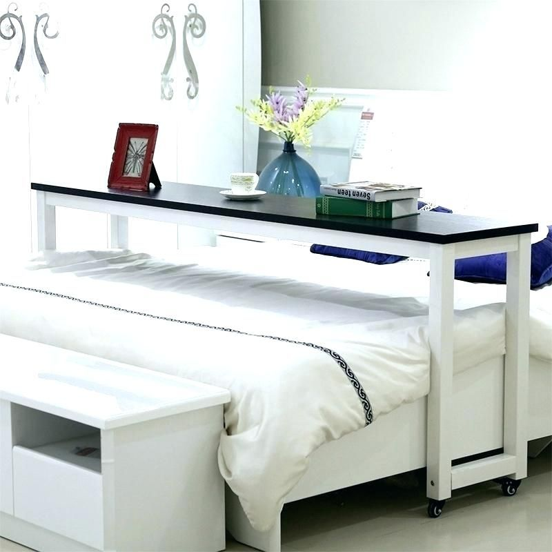 Over Bed Table On Wheels Desk That Goes Movable Rolling Overbed
