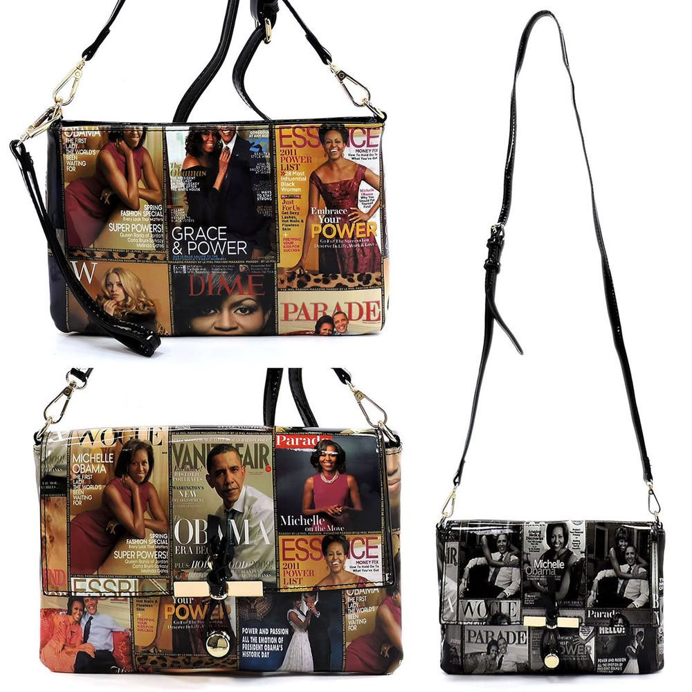 Michelle Obama Glossy Magazine Collage Handbag//Purse//Tote Black Shoulder Strap