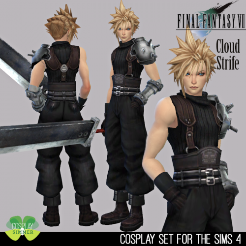 Final Fantasy Vii Cloud Strife Cosplay Set For The Sims 4 By Cosplay Simmer Spring4sims Cloud Strife Cosplay Final Fantasy Vii Cloud Final Fantasy Cosplay