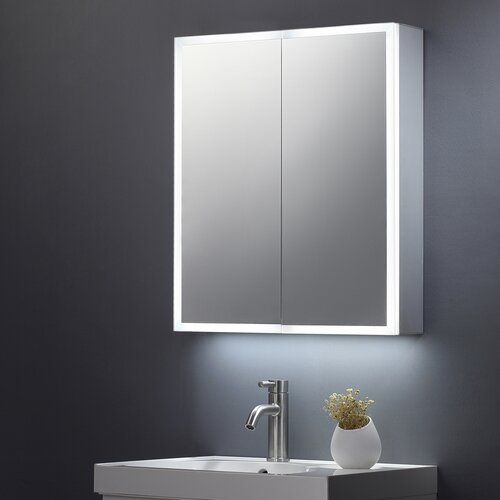 Belfry Bathroom Crites 70cm W X 60cm H Wall Mounted Mirror Cabinet With Led Lighting Bathroom Mirror Cabinet Mirror Cabinets Wall Mounted Mirror