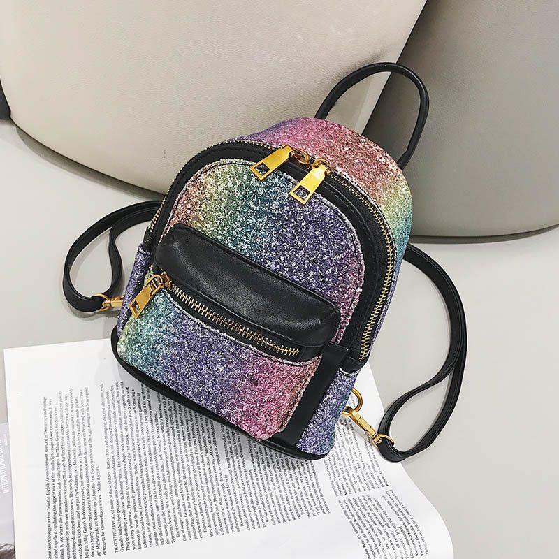 dccfbb69026d 💖Mermaid Rainbow Glitter Mini-Backpack Small Bag Purse BLACK Girls Teen  Women💖