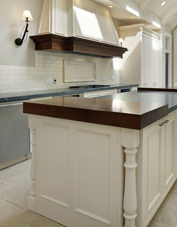 Off White Kitchen With Wood And Stone Countertops Design Ideas Kitchen Cabinets Custom Kitchen Cabinets Kitchen Renovation