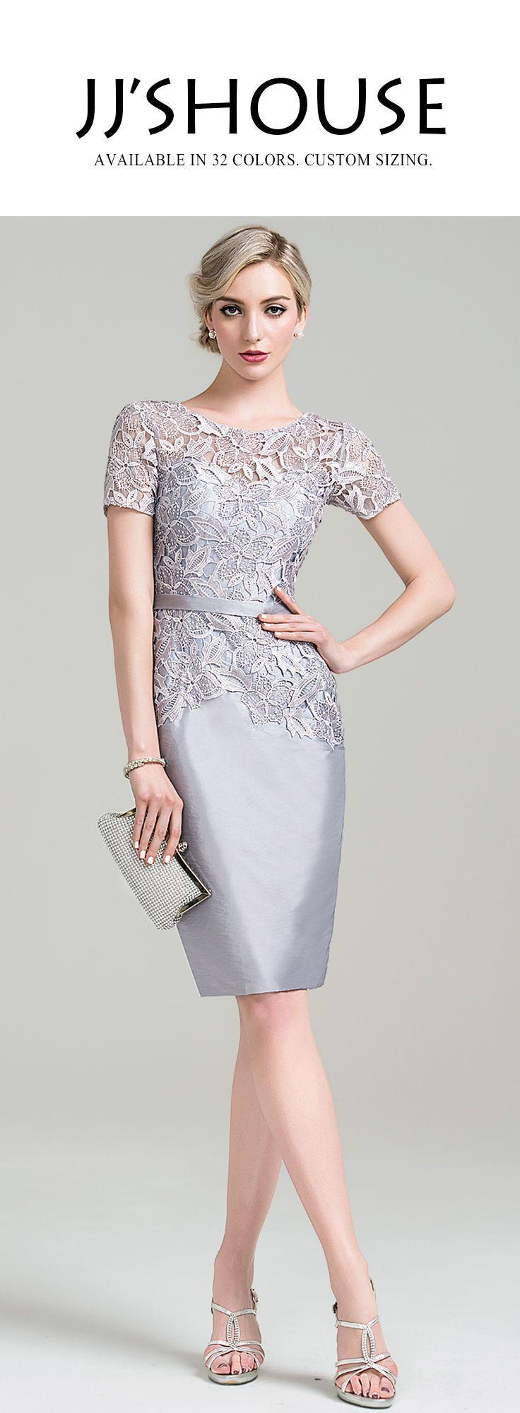 Batik dress for wedding party  SheathColumn Scoop Neck KneeLength Taffeta Lace Mother of the