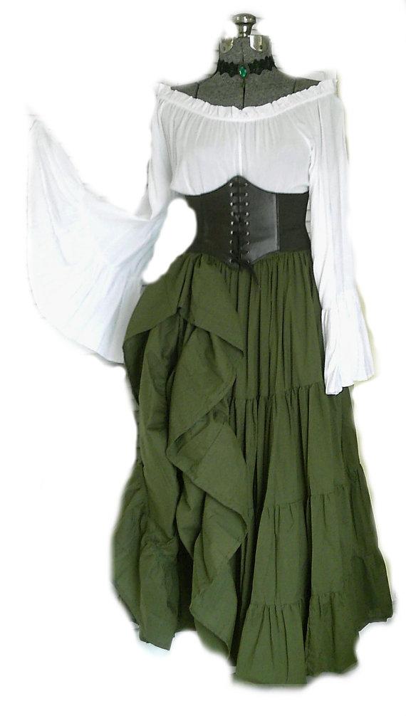 55747d15f41 Green Renaissance Pirate Gypsy Dress Chemise Corset Outfit Waist Cincher 4  pcs Wench Steampunk Costu