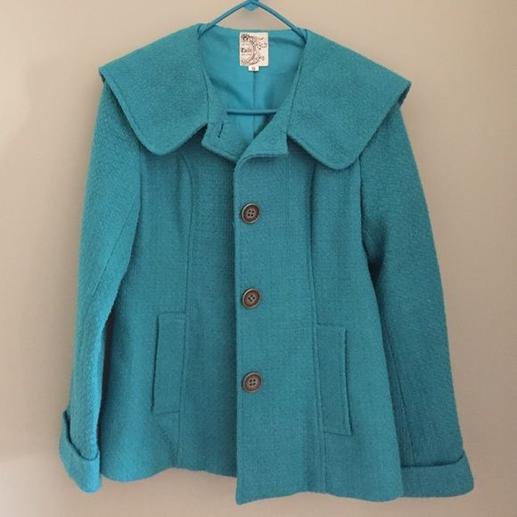 Teal jacket Jacket has a super cool hood that favors a little red riding hood look. Worn twice Tulle Jackets & Coats