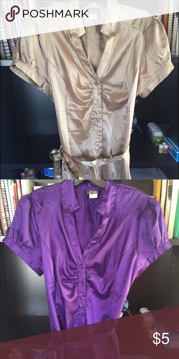 LEAVING CLOSET SOON Dots Gold and Purple Blouses Sized M/L, these have great sleeves and a cute ribbon to cinched the waist. Perfect for interviews or over jeans for a business casual look. $7 for each or $10 for both! Dots Tops Blouses